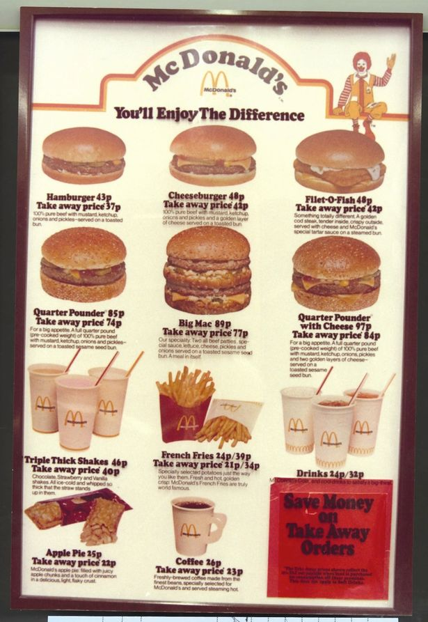 McDonald's 1980s menu