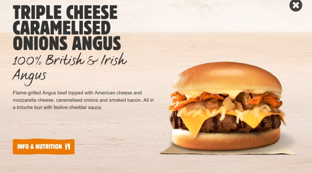 Burger King Triple Cheese Caramelised Onions Angus