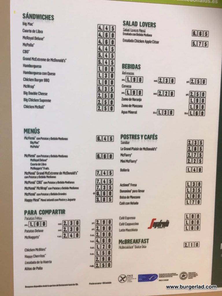 Mcdonalds spain menu prices mcdonalds espaa precios 2018 mcdonalds spain menu prices altavistaventures Gallery