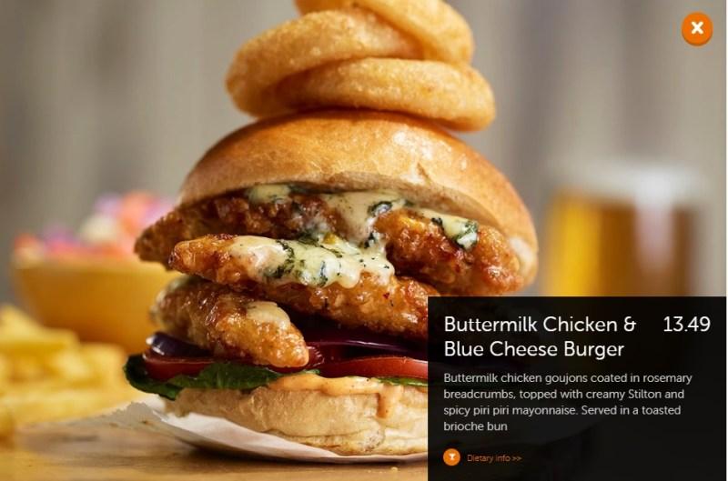 Beefeater Buttermilk Chicken Blue Cheese Burger