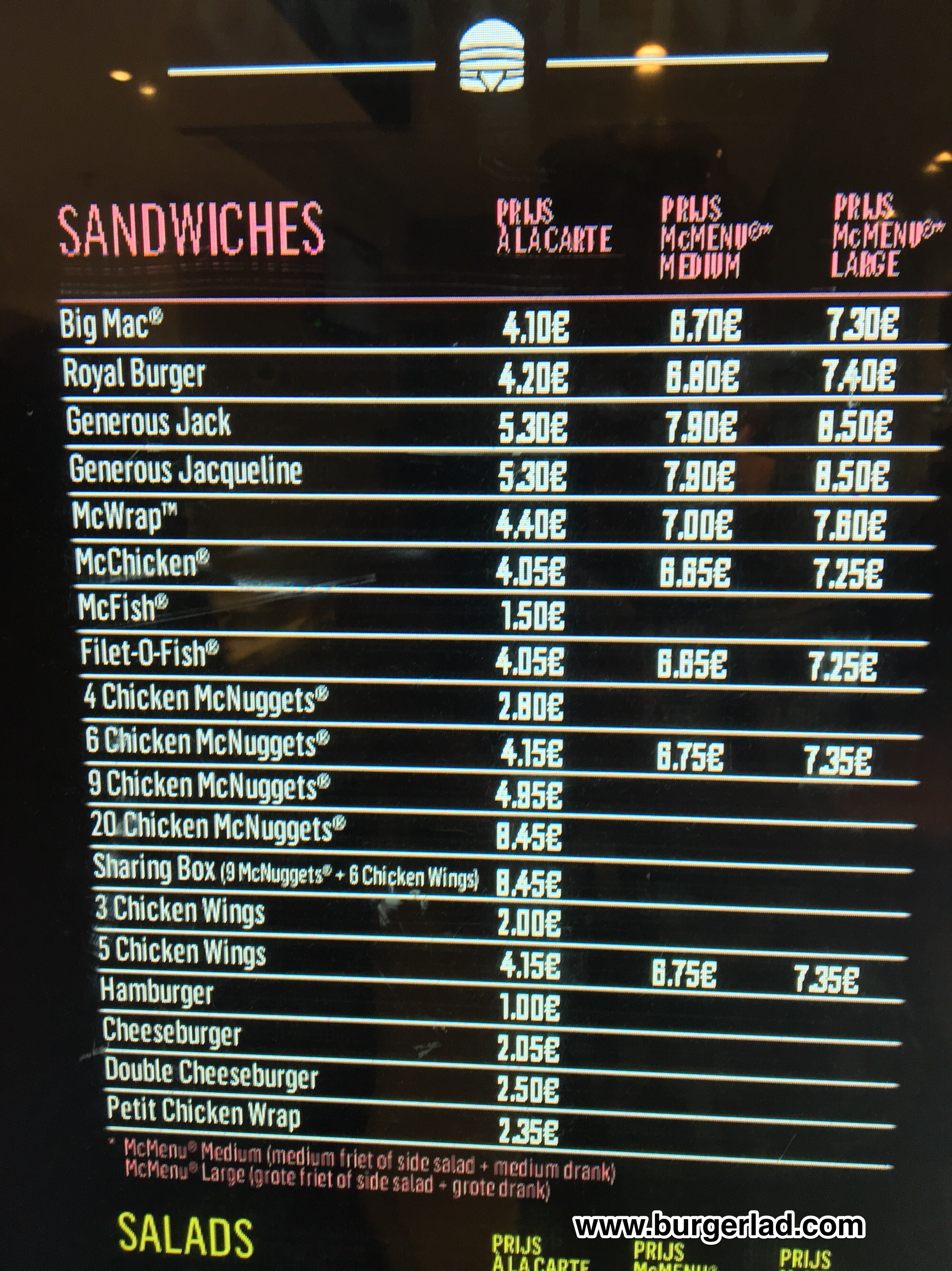McDonald's Belgium Menu Prices